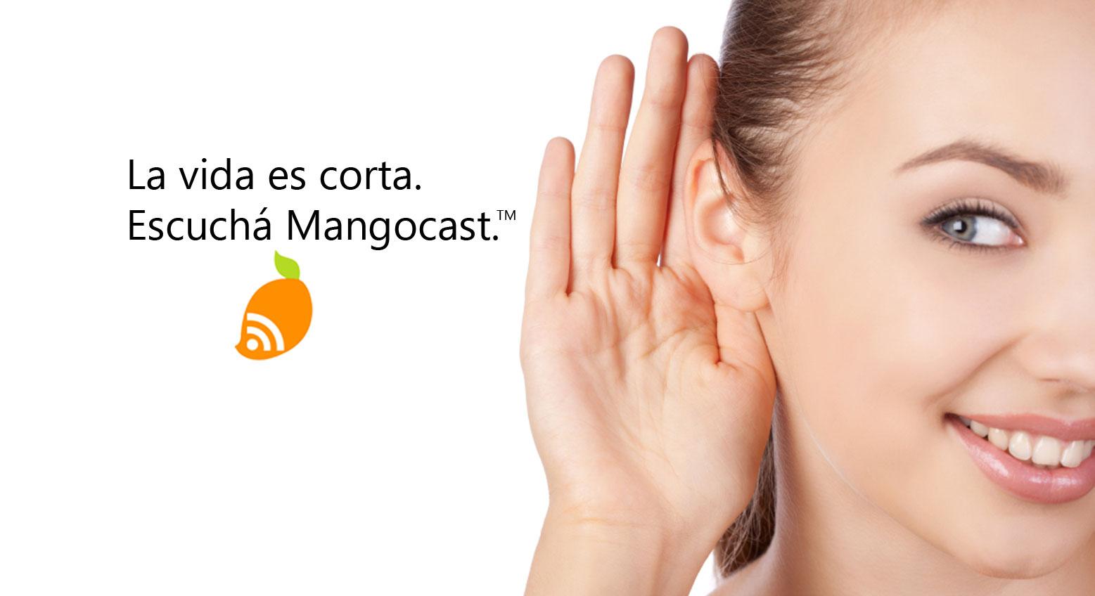 woman listening mangocast