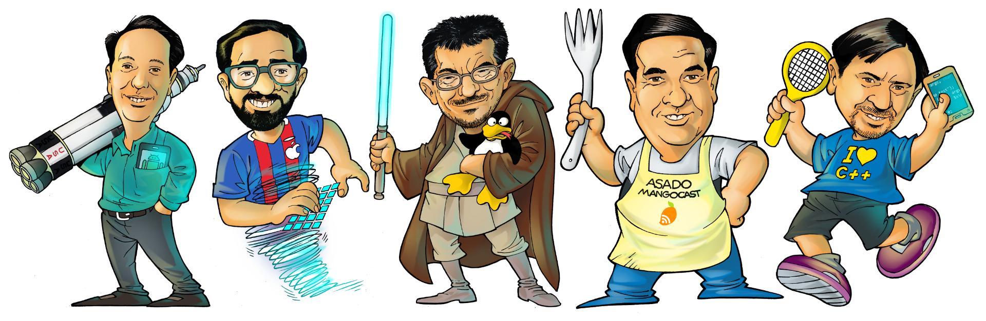 caricaturas del panel de Mangocast